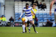 Queens Park Rangers midfielder Kazenga LuaLua (28) shielding ball from Burton Albion defender Tom Flanagan (2) during the EFL Sky Bet Championship match between Queens Park Rangers and Burton Albion at the Loftus Road Stadium, London, England on 28 January 2017. Photo by Matthew Redman.