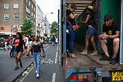 Toilet truck on Sunday 28th August 2016 at the 50th Notting Hill Carnival in West London. A celebration of West Indian / Caribbean culture and Europes largest street party, festival and parade. Revellers come in their hundreds of thousands to have fun, dance, drink and let go in the brilliant atmosphere. It is led by members of the West Indian / Caribbean community, particularly the Trinidadian and Tobagonian British population, many of whom have lived in the area since the 1950s. The carnival has attracted up to 2 million people in the past and centres around a parade of floats, dancers and sound systems.