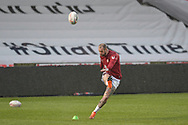 Zak Hardaker (3) of Wigan Warriors kicks the ball during the pre-game warm up