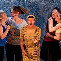 Picture shows :  Glasgow Girls Dress Rehearsal..(l-r)   Dawn Sievewright, Stephanie McGregor, Amaka Okafor, Roanna Davidson and Frances Thorburn. ...Picture © Drew Farrell. Tel 07721-735041...National Theatre of Scotland, Theatre Royal Stratford East, Citizens Theatre, Pachamama Productions, Richard Jordan Productions Ltdin association with Merrigong Theatre Company (Australia) present..WORLD PREMIERE of Glasgow Girls opens 31 October 2012 at the Citizens Theatre, Glasgow.Inspired by a true story.Conceived for the stage and directed by Cora Bissett. Book by David Greig.Music and Lyrics by Cora Bissett, Sumati Bhardwaj (MC Soom T), Patricia Panther and John Kielty.  Set Design by Merle Hensel, Musical Direction by Hilary Brooks, Choreography by Natasha Gilmore, Lighting Design by Lizzie Powell and Sound Design by Fergus O'Hare..The full cast is: Callum Cuthbertson, Ameira Darwish, Roanna Davidson, Stephanie McGregor, Myra McFadyen, Amaka Okafor, Patricia Panther, Dawn Sievewright and Frances Thorburn. ..Based on the true story of one of the most vocal and powerful asylum campaigns to catch the imagination of the media and inspire a community to unite behind its residents, Glasgow Girls is a brand new life-affirming Scottish musical with seven strong female leads and a vibrant multi-cultural voice at its heart. The musical promises to be a celebration of Glasgow and the power of teenagers with a cause.??The Glasgow Girls are a group of seven young women who have highlighted the poor treatment of failed asylum seekers. The group of girls from Drumchapel High School protested against the detention of one of their friends, Agnesa Murselaj, who had fled from war-torn Kosovo. Publicity grew as the girls challenged the First Minister and publicly voiced their concerns as more children at their school were dawn raided, detained and deported. Two BBC television documentaries have been made of their story. .Press contacts:..Clare McCormack, Press Officer.Tel: +44 (0)141 227 9