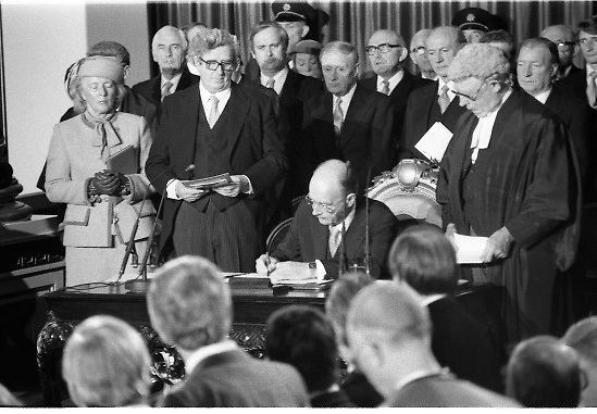 """Inaugeration of President Hillery..1983.03.12.1983.12.03.1983.3rd December 1983...Dignitaries from home and abroad attended the Inaugeration of Patrick Hillery, as president of Ireland. the ceremony took place at St Patrick's Hall,Dublin Castle...Photograph of """"the now"""" President Hillery as he signs the Declaration of Office. Mrs Hillery, proudly looks on. Chief justice O'Higgins keeps a watchful eye on proceedings..Among those at the signing are, Mr Peter Barry,Mr Garret Fitzgerald,Mr John Bruton,Mr Liam Cosgrave Mr Jack Lynch and Mr Charles Haughey."""