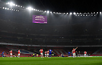 Football - 2019 / 2020 Premier League - Arsenal vs. Leicester City<br /> <br /> VAR intervenes for the dismissal of Arsenal's Eddie Nketiah after his foul on Leicester City's James Justin, at the Emirates Stadium.<br /> <br /> COLORSPORT/ASHLEY WESTERN