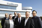 SHOT 10/31/18 11:35:35 AM - Mediacom Communications Corporation is a cable television and communications provider headquartered in Chester, New York. Founded in 1995 by Rocco B. Commisso, it serves primarily smaller rural markets in the Midwest and Southern United States. In the group photo Mediacom's Jack Griffin, Mark Stephan, Tom Larsen, Ruben Martino, Rocco Commisso and CoBank RM Gary Franke. (Photo by Marc Piscotty © 2018)