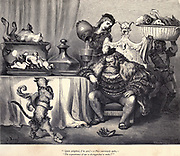 Quite delighted, I'm sure – so Puss courteously spake - 'The acquaintance of one so distinguished to make! Illustration from 'Puss in Boots' by Paul Gustave Dore (1832-1883). From the book Fairy realm. A collection of the favourite old tales. Illustrated by the pencil of Gustave Dore by Tom Hood, (1835-1874); Gustave Doré, (1832-1883) Published in London by Ward, Lock and Tyler in 1866
