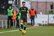Forest Green Rovers Liam Shephard(2) passes the ball forward during the EFL Sky Bet League 2 match between Stevenage and Forest Green Rovers at the Lamex Stadium, Stevenage, England on 26 January 2019.