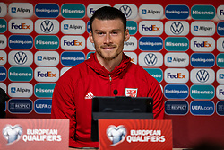 TALLINN, ESTONIA - Monday, October 11, 2021: Wales' goal-scorer Kieffer Moore during a post-match press conference after the FIFA World Cup Qatar 2022 Qualifying Group E match between Estonia and Wales at at the A. Le Coq Arena. Wales won 1-0. (Pic by David Rawcliffe/Propaganda)