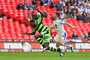 Forest Green Rovers Manny Monthe(3) gets bundled over by Tranmere Rovers Cole Stockton(23) during the Vanarama National League Play Off Final match between Tranmere Rovers and Forest Green Rovers at Wembley Stadium, London, England on 14 May 2017. Photo by Shane Healey.