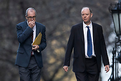 © Licensed to London News Pictures. 15/12/2020. London, UK. Chief Medical Officer for England Professor Chris Whitty (R) walks to a Cabinet meeting with Chief Scientific Adviser Sir Patrick Vallance. London and other areas of the south east are to enter Tier Three restrictions at midnight tonight as Covid-19 infection rates rise. Photo credit: Peter Macdiarmid/LNP