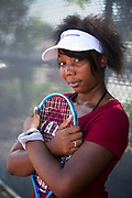 Young tennis player portrait.