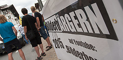 13.06.2015, Telfs, AUT, Demonstration gegen die Bilderbergkonferenz, im Bild ein Transparent // a transparent during a demonstration agiainst the bilderberg group in Telfs, Austria on 2015/06/13. EXPA Pictures © 2015, PhotoCredit: EXPA/ Jakob Gruber