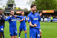 AFC Wimbledon Midfielder Anthony Wordsworth (40) celebrates with the fans after the EFL Sky Bet League 1 match between AFC Wimbledon and Wycombe Wanderers at the Cherry Red Records Stadium, Kingston, England on 27 April 2019.