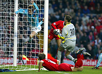 Sunderland's George McCartney makes a last ditch save from Liverpool's El-Hadji Diouf during the Premiership match at Anfield, Liverpool, Sunday, November 17th, 2002. <br /><br />Pic by David Rawcliffe/Propaganda<br /><br />Any problems call David Rawcliffe on +44(0)7973 14 2020 or email david@propaganda-photo.com - http://www.propaganda-photo.com