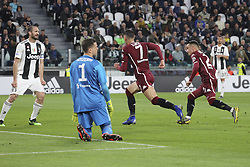 May 3, 2019 - Turin, Piedmont, Italy - Sasa Lukic (Torino FC) celebrates after scoring during the Serie A football match between Juventus FC and Torino FC at Allianz Stadium on May 03, 2019 in Turin, Italy..Final results: 1-1. (Credit Image: © Massimiliano Ferraro/NurPhoto via ZUMA Press)