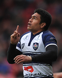 Bristol Rugby Winger David Lemi celebrates his try - Photo mandatory by-line: Dougie Allward/JMP - Mobile: 07966 386802 - 29/03/2015 - SPORT - Rugby - Bristol - Ashton Gate - Bristol Rugby v Bedford Blues - Greene King IPA Championship