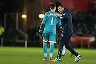 Paul Clement, the Swansea city manager © congratulates Lukasz Fabianski of Swansea city at the end of the match. Premier league match, Swansea city v Southampton at the Liberty Stadium in Swansea, South Wales on Tuesday 31st January 2017.<br /> pic by  Andrew Orchard, Andrew Orchard sports photography.