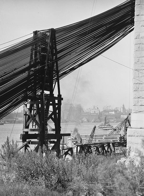 Sydney Harbour Bridge, cables & view of harbour, Australia, 1930