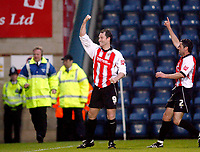 Photo: Marc Atkins.<br /> <br /> Wycombe Wanderers v Cheltenham Town. Coca Cola League 2, Play off Semi Final. 13/05/2006. Steve Guinan celebrates scoring Cheltenham's 2nd of the night.