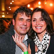BEL/Brussel/20121223 - Belgische premiere musical Peter Pan, Wendy van Wanten met partner Frans Vancoppenolle