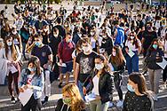 Studenti in coda all'ingresso dei test di ammissione dell'Università di Torino allestiti al Lingotto con le misure anti-Covid. Torino,Italia - 1 Settembre 2020