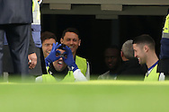 Diego Costa of Chelsea joking around in the tunnel before he walks out for the pre-match warm up.  Premier league match, Chelsea v Arsenal at Stamford Bridge in London on Saturday 4th February 2017.<br /> pic by John Patrick Fletcher, Andrew Orchard sports photography.