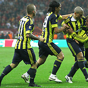 Fenerbahce's Alexsandro de SOUZA (2ndR) celebrate his goal with team mate during their Turkish superleague soccer derby match Galatasaray between Fenerbahce at the Turk Telekom Arena in Istanbul Turkey on Friday, 18 March 2011. Photo by TURKPIX