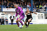 Newport County's Conor Washington puts Bury's keeper Brian Jensen under all sorts of trouble. Skybet Football League two match, Bury v Newport county at Gigg Lane in Bury on Saturday 5th Oct 2013. pic by David Richards, Andrew Orchard sports photography,