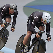 Sam Webster, (front) and Simon Van Vel Thooven, New Zealand, in action during the Men Elite Team Sprint at the 2012 Oceania WHK Track Cycling Championships, Invercargill, New Zealand. 21st November 2011. Photo Tim Clayton