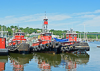 Three Red Tugs in Belfast Harbor, Maine, USA.