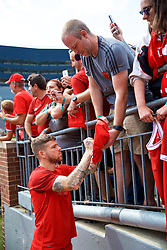 ANN ARBOR, USA - Friday, July 27, 2018: Liverpool's Alberto Moreno signs autographs for supporters after a training session ahead of the preseason International Champions Cup match between Manchester United FC and Liverpool FC at the Michigan Stadium. (Pic by David Rawcliffe/Propaganda)