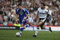 Photo: Pete Lorence.<br />Derby County v Cardiff City. Coca Cola Championship. 17/03/2007.<br />Derby's Giles Barnes (R) about to shoot the ball past the keeper, taking Derby into the lead.