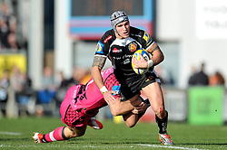 Tom James of Exeter Chiefs looks to get past James Tincknell of London Welsh - Photo mandatory by-line: Patrick Khachfe/JMP - Mobile: 07966 386802 07/03/2015 - SPORT - RUGBY UNION - Exeter - Sandy Park - Exeter Chiefs v London Welsh - Aviva Premiership