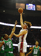 Anderson Varejao shoots over Leon Powe..The Cleveland Cavaliers defeated the Boston Celtics 108-84 in Game 3 of the Eastern Conference Semi-Finals at Quicken Loans Arena in Cleveland.
