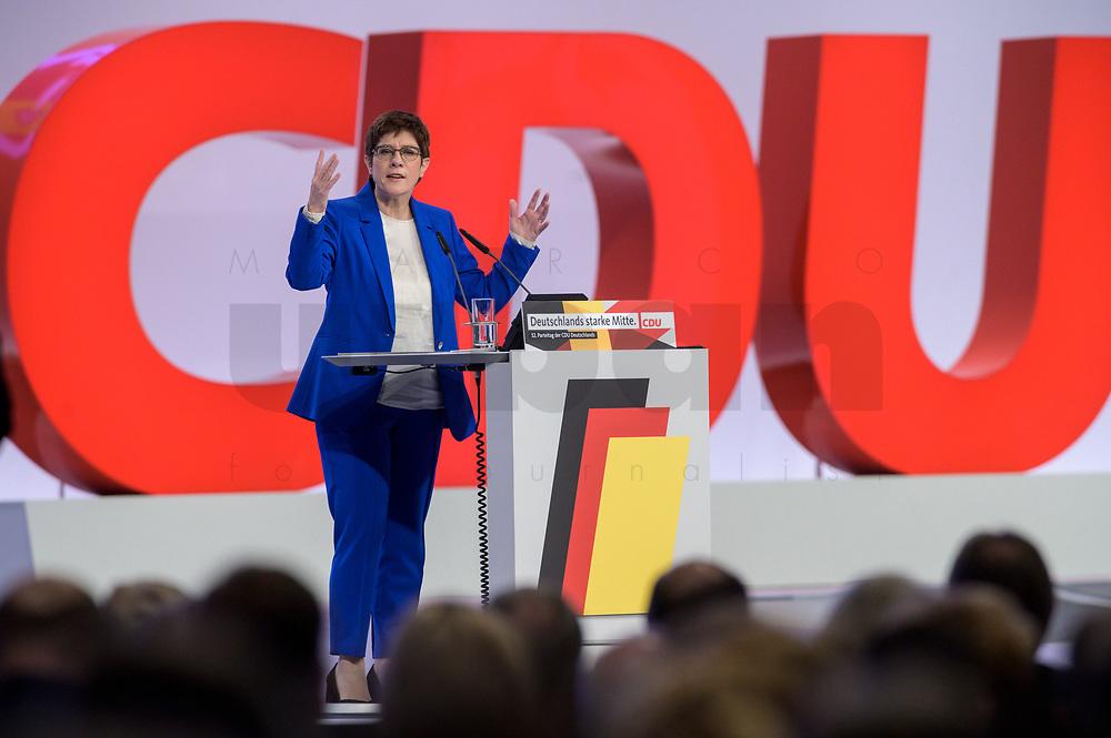 22 NOV 2019, LEIPZIG/GERMANY:<br /> Annegret Kramp-Karrenbauer, CDU Bundesvorsitzende und Bundesverteidigungsministerin, haelt eine Rede, CDU Bundesparteitag, CCL Leipzig<br /> IMAGE: 20191122-01-066<br /> KEYWORDS: Parteitag, party congress