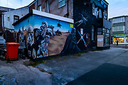 Street mural of Star Wars painted on the back of a shop, 21st April 2021 in Blackpool, Lancashire, United Kingdom. Blackpool is a large town and seaside resort in the county of Lancashire on the north west coast of England. Blackpool was once a booming resort with it's famous promenade which now, despite having a somewhat shabby appearance, still continues to attract millions of visitors each year. During the coronavirus pandemic however, Blackpool has struggled, with empty streets and closed down businesses creating an atmosphere more like a ghost town.