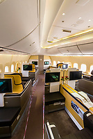 First class cabin of a Lufthansa 747 jet at Frankfurt Airport, Germany.