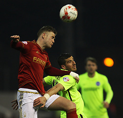 Matthew Mills of Nottingham Forest (L) and Tomer Hemed of Brighton & Hove Albion in action - Mandatory by-line: Jack Phillips/JMP - 11/04/2016 - FOOTBALL - City Ground - Nottingham, England - Nottingham Forest v Brighton and Hove Albion - Sky Bet Championship