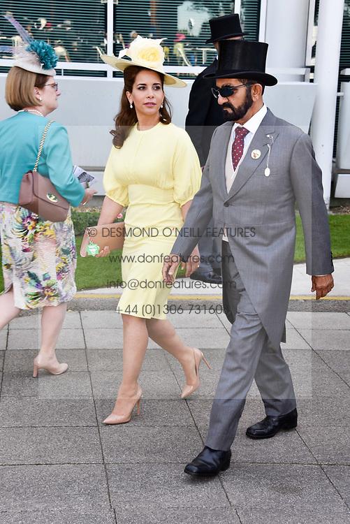 Princess Haya of Jordan with her husband Sheikh Mohammed bin Rashid Al Maktoum of Dubai at The Investec Derby, Epsom, Surrey England. 3 June 2017.<br /> Photo by Dominic O'Neill/SilverHub 0203 174 1069 sales@silverhubmedia.com