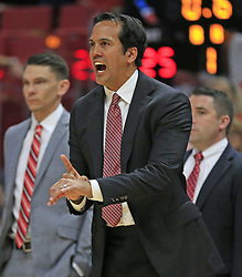 December 23, 2017 - Miami, FL, USA - Miami Heat head coach Erik Spoelstra on the sidelines in the first quarter against the New Orleans Pelicans on Saturday, Dec. 23, 2017, at AmericanAirlines Arena in Miami. (Credit Image: © Al Diaz/TNS via ZUMA Wire)