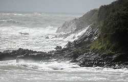 © Licensed to London News Pictures. 25/08/2020. City, UK. Stormy seas due to strong winds in Langland Bay, Gower, as Storm Francis brings poor weather conditions across the UK with high winds and heavy rain causing disruption. Photo credit: Robert Melen/LNP