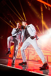 © Licensed to London News Pictures . 05/04/2014 . Manchester , UK . Brian Littrell and Nick Carter . The Backstreet Boys play at the Phones4U Arena in Manchester this evening (Saturday 5th April 2014) . Photo credit : Joel Goodman/LNP