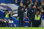 Grant McCann, the Peterborough United manager giving instructions from the touchline. The Emirates FA cup, 3rd round match, Chelsea v Peterborough Utd at Stamford Bridge in London on Sunday 8th January 2017.<br /> pic by John Patrick Fletcher, Andrew Orchard sports photography.