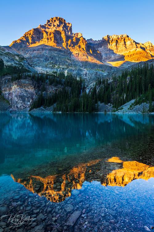 Evening light on Mount Huber above Lake O'hara, Yoho National Park, British Columbia, Canada