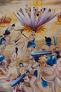 Wat Phonpao Buddhist temple complex in Luang Prabang, Laos. Mural depicting Buddhist hell.