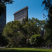 Flatiron building from Madison Square park in Manhattan, New York