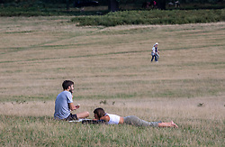 """© Licensed to London News Pictures. 12/09/2020. Surrey, UK. Walkers and picnickers enjoy the glorious sunshine in Richmond Park in South West London this afternoon before the """"Rule of 6"""" comes into force on Monday as weather experts announce a 6 day mini heatwave in the South East of England this week with highs in excess of 29c. Prime Minister Boris Johnson is already under pressure after he announced on Friday that gatherings of more than six people will be banned from Monday in the hope of reducing the coronavirus R number. The Rule of Six as it is known, has already become unpopular with MPs and large families. Photo credit: Alex Lentati/LNP"""