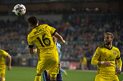 November 5, 2017 - Bronx, New York, U.S - Columbus Crew midfielder HECTOR JIMENEZ (16) heads the ball away from goal while Columbus Crew defender JOSH WILLIAMS (3) looks on during leg 2 of the Eastern Conference Semifinal at Yankee Stadium, Bronx, NY.  NYCFC defeats Columbus Crew 2-0.  Columbus wins 4-3 on aggregate. (Credit Image: © Mark Smith via ZUMA Wire)