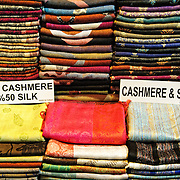 Colorful cashmere and silk scarves for sale in Istanbul's historic Grand Bazaar