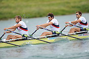 Munich, GERMANY.  GBR M4X. Bow Steve ROWBOTHAM, Charles COUSINS and Bill LUCAS. Start in their morning heat. 2010 FISA World Cup. Olympic Rowing Course, Munich.  Friday  18/06/2010   [Mandatory Credit Peter Spurrier/ Intersport Images]