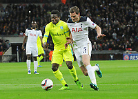 Football - 2016 / 2017 Europa League - Group of Thirty-Two, Second Leg: Tottenham Hotspur [0] vs. KAA Gent [1]<br /> <br /> Moses Simon of Gent and Jan Vertonghen of Spurs at Wembley.<br /> <br /> COLORSPORT/ANDREW COWIE