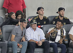 November 1, 2018 - Los Angeles, California, U.S - (L) Joc Pederson and Clayton Kershaw of the LA Dodgers attend the MLS playoff game between LAFC and the Real Salt Lake on Thursday November 1, 2018 at Banc of California Stadium in Los Angeles, California. LAFC lost to Real Salt Lake, 3-2. (Credit Image: © Prensa Internacional via ZUMA Wire)